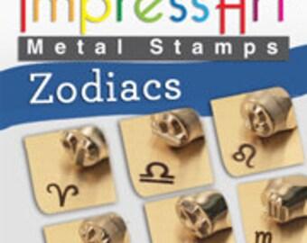 ZODIAC Metal Stamp Kit, 12 Design Stamps 6mm ImpressArt Complete Set All 12 Astrological Signs