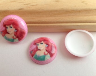 Princess Ariel Inspired  Round Dome-3 Pieces-Resins-Cabochon-Bow Center-Supply-Platic