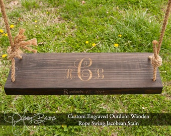 Tree Swing Engraved/Personalized with Name and Date stained Jacobean