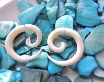 Fake Gauge Tribal Earrings - Badra Classic Fake Gauge Cheater Earrings swirls with made from bone