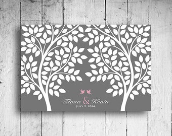 Wedding Tree Guest Book Alternative for 55-300 Guest Sign In Tree Print Wedding Guestbook Poster Aqua and Gray