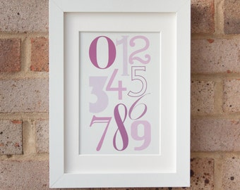 Numerals, Muted Pink - Gicleé print