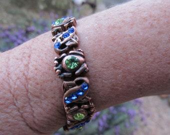 SALE!!  Vintage Green and Blue Rhinestone Bracelet