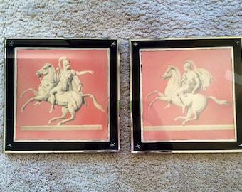 Greek Warrior Pink and Black Glass Prints Awesome Frames
