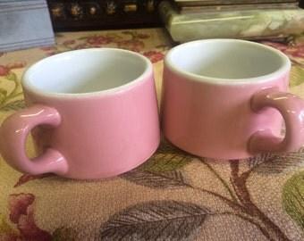 Shenango 1950s Pink Restaurantware China Mugs