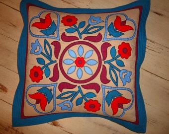 Folk Art Appliqued Pillow Sham