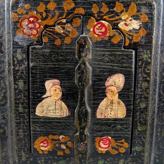 Vintage Persian Mirror Home Decor Handpainted Wood Wall