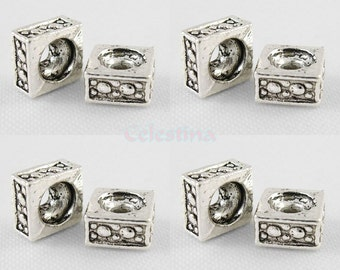 50 x Tibetan Silver Square Spacer Beads - LF CF NF - Round Hole - Ornate Design - SP61