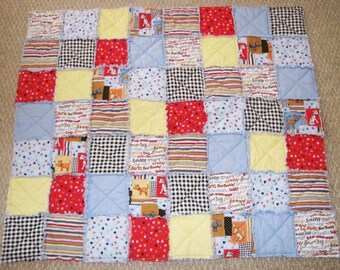Children's Blue Puppy Rag Quilt