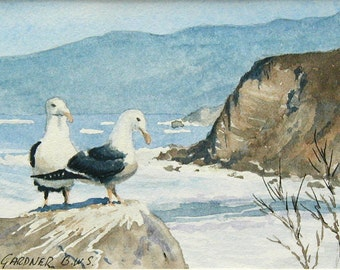 "California Coast Seagulls- watercolor painting 6"" x 8"" including a double mat, seascape, art"
