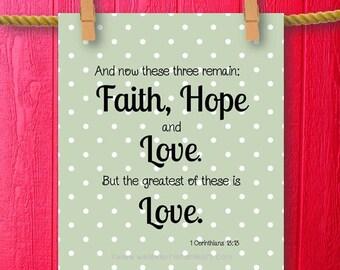 1 corinthians faith hope love bible verse art scripture