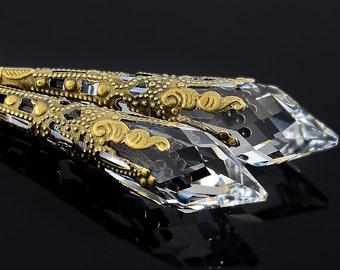 Icicle Crystal Earrings, Bronze Filigree, Clear Crystal Icicle Earrings, Victorian Earrings, Fantasy Jewelry, Swarovski Crystal