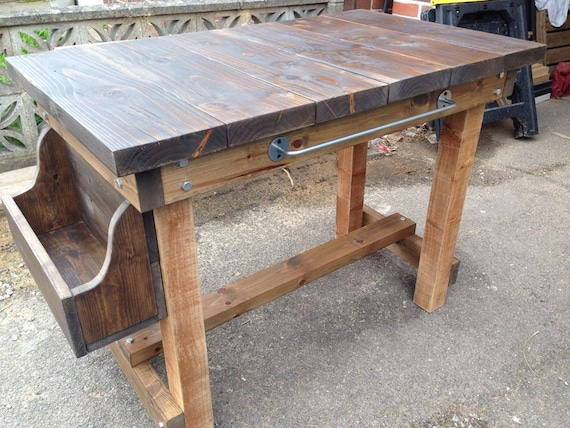 Items Similar To Butchers Block Style Chunky Breakfast Bar Table