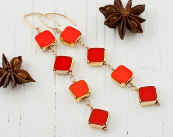 """Red and Orange Long Statement Earrings – """" Two Can Play """" Wire Wrapped Dangle Earrings – 14K Gold Filled French Wires – Handmade Jewelry"""