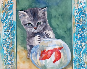 Cat, original watercolor, painting, watercolor, handpainted, 7,8x11,8 inch. inklusive passepartout. gray, cat, nature, lovely cat