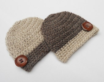 Newborn Going Home Outfit Newborn twins Outfit Crochet baby hats Twins beanies Brown Taupe/Beige Button hat Twin boys photo prop Chunky Knit
