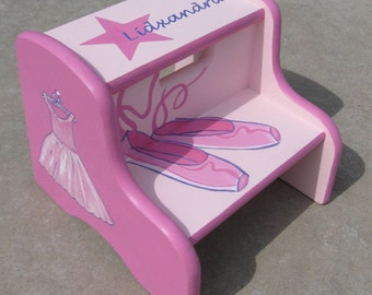Girls Hand Painted Ballerina Step Stool, Personalized Stools for Kids, Dancer Step Stool