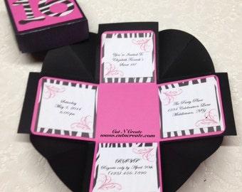 Sweet 16 Invitations Sweet 16 Invite Pink Sweet 16 Invitations Zebra Sweet 16