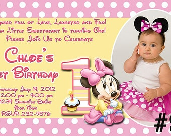 Baby Minnie Mouse First Birthday Invitation Printable Digital File - Minnie Mouse 1st Birthday Invitation/ Minnie Mouse invitation w / photo