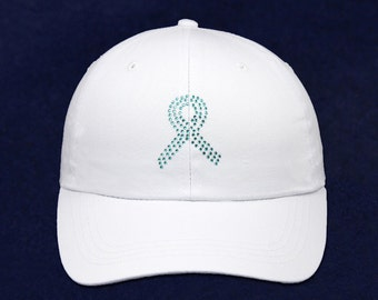 Teal Ribbon Baseball Hat with Crystals (RE-CRHT-3W)