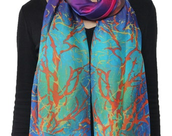Vibrant Rainbow Color Coral Print Chiffon Scarf Aqua Blue And Purple Beach Sarong