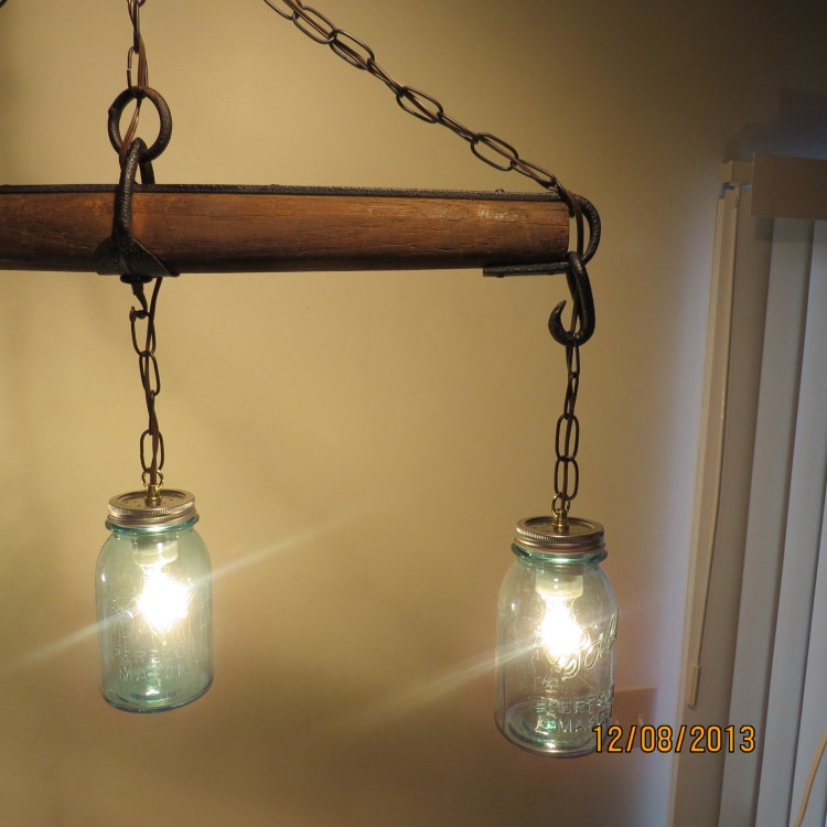 Just Reduced Rustic Handmade 3 Bulb Hanging Light Fixture Or: Just Reduced Rustic Handmade 3 Bulb Hanging By