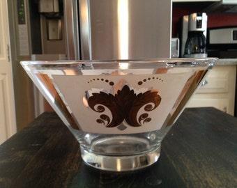 Vintage painted glass serving bowl