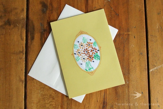 Upcycled Embroidery Notecard (blank)