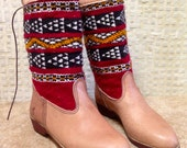 Handcrafted Moroccan Kilim Boot in Tan Leather - Size 40