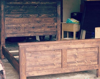 Single Stain, Solid Wood Modern Farmhouse Bed w/ Reversible Headboard. King, Queen, Full, Twin Bed.  We Ship.