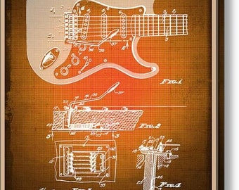Fender Guitar Patent Blueprint Drawing Sepia on Stretched Canvas