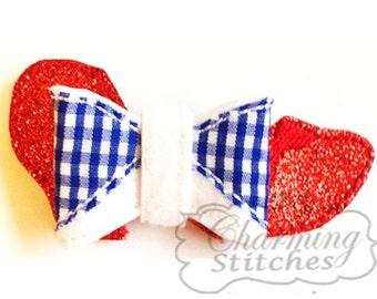 Red slipper bow, Red Shoe Felt  bow / headband embellishment embroidery design