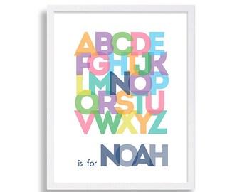 Alphabet Nursery Print Baby Name Personalized Nursery Decor Baby Boys Nursery Colorful Art Print Baby's Room Nursery Art Typography Art