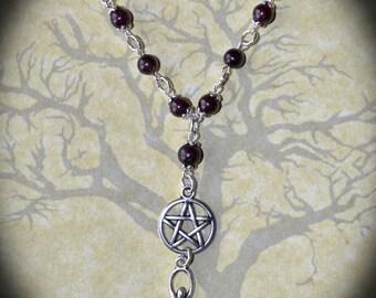 Garnet Goddess Necklace - Pentacle, Pagan Jewellery, Wicca, Witch, Gemstone