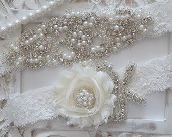 Wedding Garter Set, Bridal Garter Set, Vintage Wedding, Lace Garter, Pearl Garter, Style 200