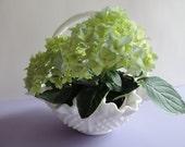 Vintage Fenton Hobnail Milk Glass / Double Crimped / Fenton White Milk Glass Basket