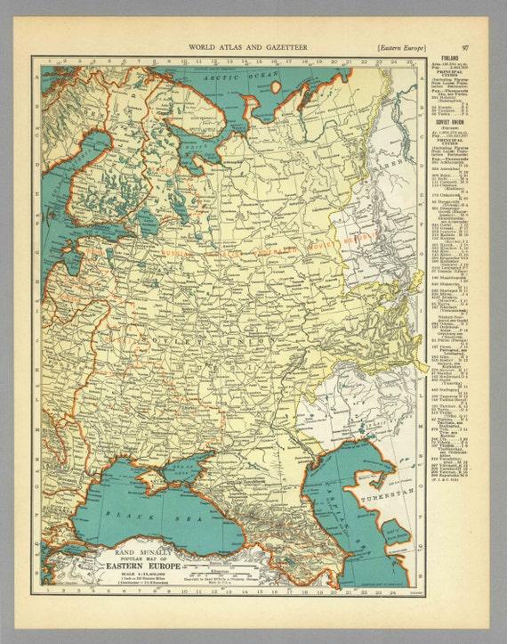 Antique Vintage Map Eastern Europe 1938 1930s by MeridiansMaps
