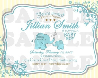 Sweet Elephant Baby Shower Invitation (Boy)