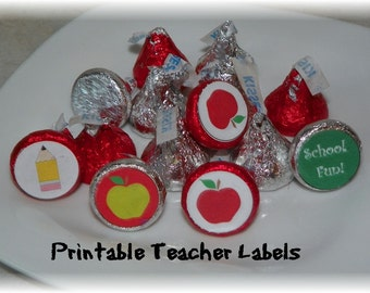 Printable Hershey Kiss Teacher School labels INSTANT DOWNLOAD