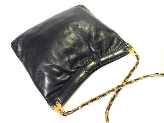 Navy Blue Purse Leather Bag Gold Chain Shoulder Strap