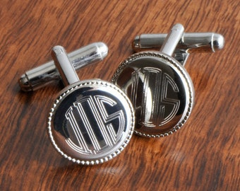 Groomsmen Gift - Personalized Cufflinks - Silver Round Beaded Cufflinks (202)