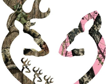 "6""  Browning style camo and pink camo heart shaped with 3 baby bucks decal sticker deer buck"