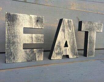 big EAT wall kitchen art sign - Kitchen Decor, vintage decor-big letters, big wood sign - bar or restaurant decor