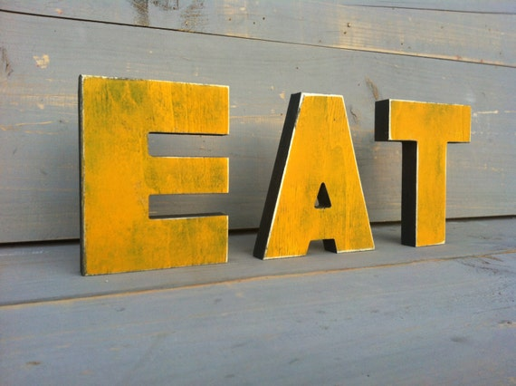 Eat wood sign kitchen decor wood letter wood sign by sunfla for Kitchen letters decoration