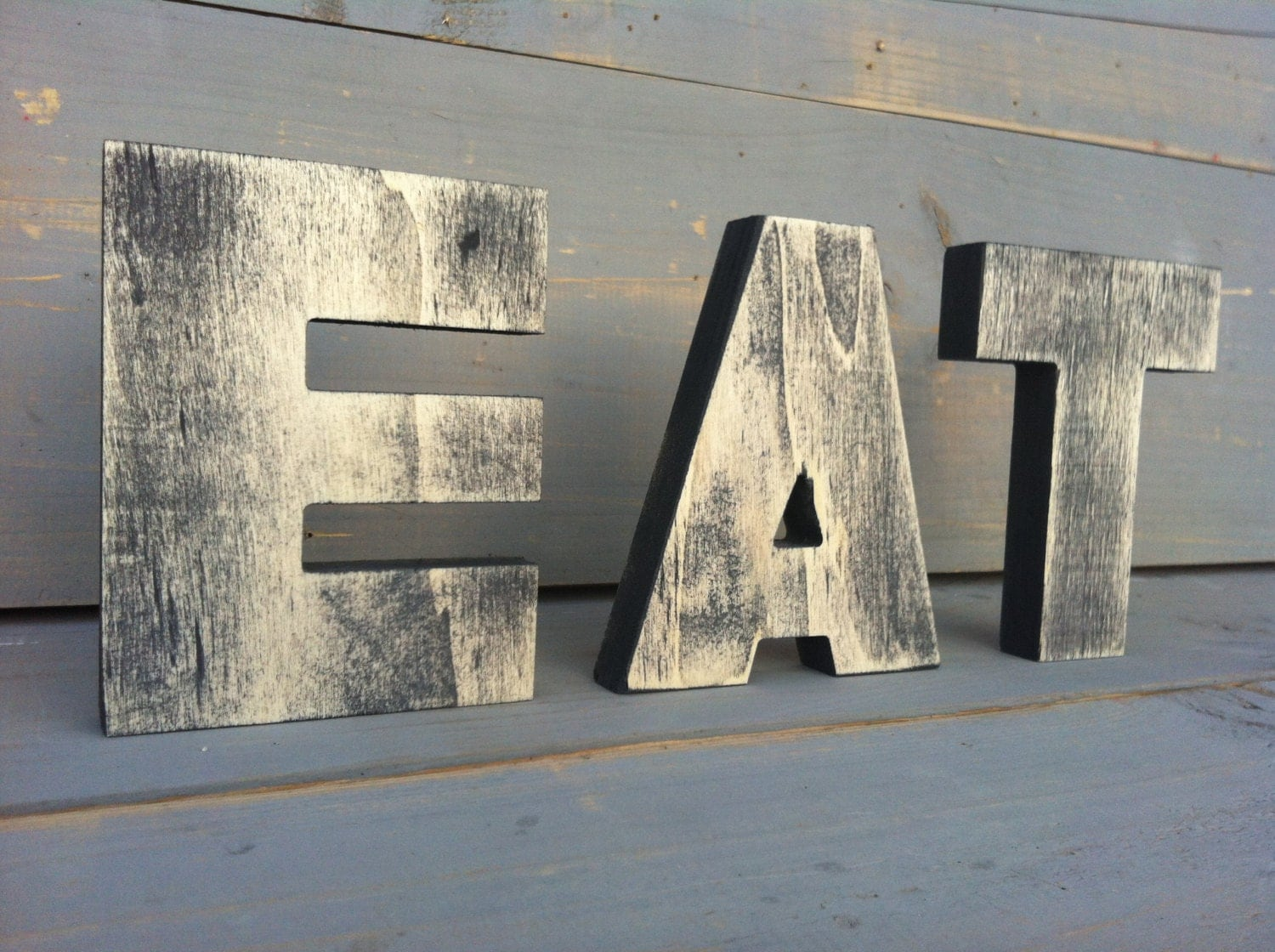 Eat Sign Tea Sign Kitchen Sign Wood Sign 3 Wood Letters 2