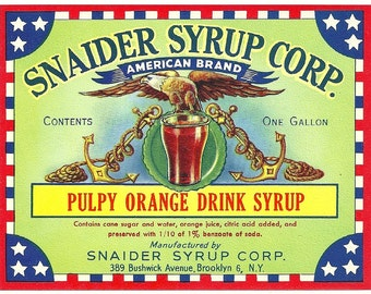 Unused 1940's Pulpy Orange Drink Soda Syrup Jug Label Manufactured by Snaider Syrup Corp. in Brooklyn, New York