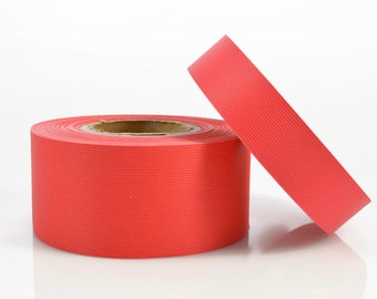 RED PAPER RIBBON - Red Ribbed Paper Ribbon / Belly Band (30 metre roll)
