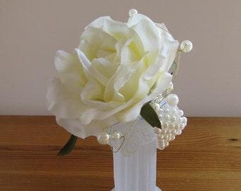 elegant ivory rose wrist corsage