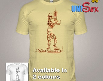 Steampunk Steam Cop T-shirt Robot Clockwork Man Tshirt History Movie Film Sci-Fi Steam Punk Victorian Vintage Dieselpunk T shirt