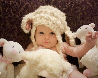 Lamb Hat - Baby Lamb Hat - Crochet Lamb hat - Lamb photo prop - Newborn Lamb Hat - Lamb Hat for boy - Lamb hat for girl - Newborn photo prop
